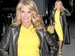 Christie Brinkley wears a canary yellow dress on the Katie Couric Show on Wednesday