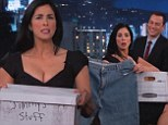 Well, that was awkward! Sarah Silverman gives Jimmy Kimmel 'his stuff back' on live TV... over four years after they broke up