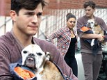 Heartbroken Ashton Kutcher takes dying dog to be put down with Mila Kunis by his side