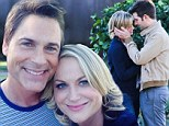 Parks And Recreations' Amy Poehler and Adam Scott share a sweet kiss... as Rob Lowe marks his last day on set