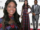 Naomie Harris shows off toned tummy in sheer dress while Idris Elba looks dapper in a grey suit at Mandela premiere