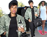 A first class act! Jennifer Hudson is stylishly sleek in black leggings and green jacket as she jets out of Los Angeles