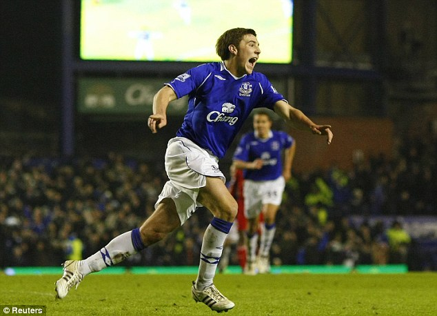 Youngster: Gosling celebrates after scoring for Everton in the FA Cup in 2009