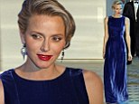 She wore blue velvet: Princess Charlene of Monaco stuns in a breathtaking sapphire gown as she attends her own charity gala in Monte Carlo
