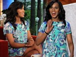 Pregnant Kerry Washington blooms loveliness in floral frock during TV talk show visit