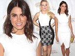 Fair ladies: Nikki Reed shines in white dress as she joins monochrome marvel Melissa Joan Hart at charity luncheon