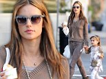 Have a big bite... you deserve it! Alessandra Ambrosio enjoys sweet treat with daughter as she relaxes after Victoria's Secret show