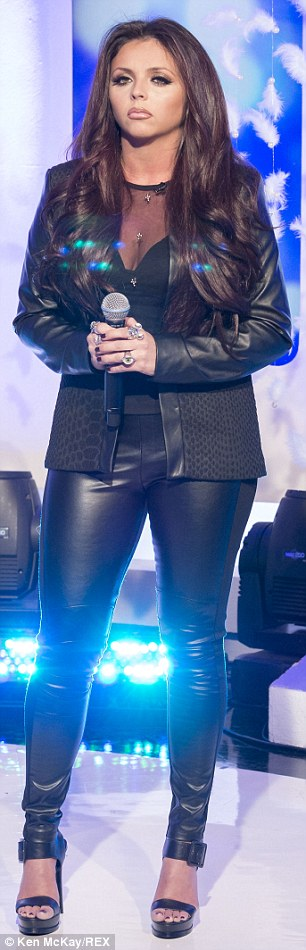 Matching: Little Mix worked a series of outfits, with Jesy daring to go head to toe in leather
