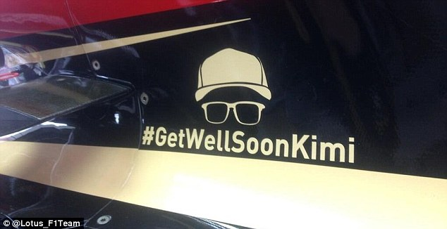 Best wishes: Lotus tweeted out this picture on its Twitter feed which shows how the team are supporting Raikkonen by putting this image on their cars
