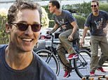A boy and his toys! Matthew McConaughey, 44, proves he's still a kid at heart as he shows off both skateboarding AND biking skills