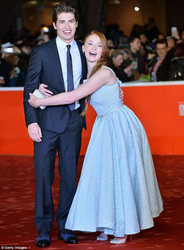 Clinging on for dear life! Sophie hugged her costar in the film, Gregg Sulkin