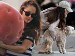 Keeping busy after the breakup? Minka Kelly switches outfits three times as she juggles carrying a pink puff, walking her dog... and even fits in time for the gym!