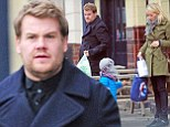 JAMES CORDEN WITH HIS FAMILY OUT IN PRIMROSE HILL, LONDON