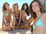Victoria's Secret models Magdalena Frackowiak, Monika Jagaciak and Kelly Gale are seen on the set of a Victoria's Secret photo shoot in St Barts
