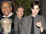 Party time! Anne Hathaway celebrates her 31st birthday alongside Hollywood heavyweights Sidney Poitier and Michael Caine