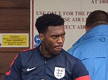 Worry: Daniel Sturridge was forced to sit out the remainder of England's training session with an injury