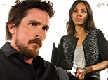 Getting serious: Christian Bale and Zoe Saldana had serious faces on Sunday during a special screening of Out Of The Furnace in Los Angeles