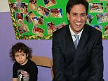 Costs: Labour leader Ed Miliband accused the government of cutting childcare prices as prices rose in a speech at Learning Ladders Nursery in south London where he met three year old Lisa Marques-Mouta