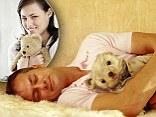Smiling Man Sleeping with Teddy Bear