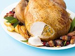 Christmas turkey with two stuffings