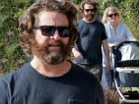 Family man Zac Galifianakis takes newborn for a walk with his younger sister Merritt