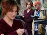 That's a wrap! Jennifer Lopez warms up in burgundy sweater on the set of her film Boy Next Door