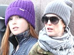Close-knit family! Julianne Moore and her lookalike 11-year-old daughter Liv bundle up in wool for chilly outing in New York
