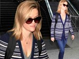 At least she's warm! Reese Witherspoon masters granny-chic as she tottles into LAX in cosy cardigan