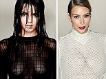 Taking style tips from Kim? Kendall Jenner dares to bare in risqué new photo shoot just a day after her big sister donned an eerily similar style