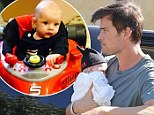 Babies start your engines! Josh Duhamel hits a winning formula after posting picture of baby Axl in toy Ferrari