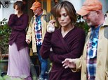 Getting ready for your big crying scene? Jennifer Lopez brandishes tissues as she psyches herself up on set of Boy Next Door