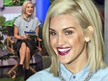 I¿m A Celebrity star Ashley Roberts appears on ITV show This Morning in a bottoned up denim skirt and black leather pencil skirt combo