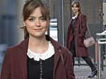 Stepping out: Jenna Coleman steps out in a wintery coat before her Daybreak interview