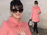 Lily Allen channels Jackie O in stylish pink coat and leopard print heels ahead of interview on Radio 1