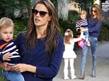 No time for a hairdryer! On-the-go mom Alessandra Ambrosio leaves home with wet hair on outing with her children