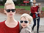 Stylish in shades: January Jones' son Xander looked hip in his silver sunglasses as the two went out in Beverly Hills, California on Tuesday
