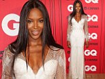 Naomi Campbell looks stunning on the red carpet in a dazzling white gown with beaded overlay at the 2013 GQ Awards in Sydney on Monday night.