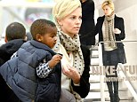 Charlize Theron takes little Jackson shopping in Paris