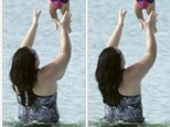 Spot the difference: Rosie O'Donnell posted a photoshopped image of herself, taken in late October, to Twitter of her playing with her daughter Dakota, on Wednesday