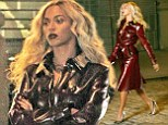 Beyonce rocks dark red vinyl Burberry coat on set of her new music video in New York