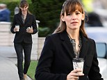She means business! Jennifer Garner is smart in black blazer and skinny jeans for girls' day out