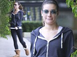 She's normally groomed to perfection, but Lea Michele has been spotted dressed down in a zip up blue hoodie and Ugg boots after a workout in California
