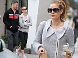 Low key couple: Amy Adams and fiancé Darren Le Gallo go casual and comfortable for coffee stop and shopping trip