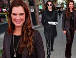 Twice as nice! Brooke Shields steps out in skinny leather trousers before changing into a flared pair for Catching Fire premiere