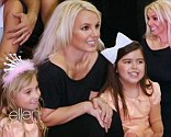 New friends: Britney Spears gets a visit from Sophia Grace and Rosie on Friday's episode of The Ellen DeGeneres Show
