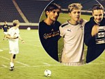 One Direction stars fulfill 'boyhood dreams' by playing football with David Beckham's old team... as Niall Horan's goal is caught on camera