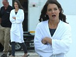 Long days and nights! Katie Holmes battles through jet lag as she continues with her grueling traveling schedule to film The Giver