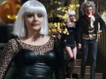 Chloe Moretz sports silver hair and leopard print as she films Halloween scene with Jamie Blackley for If I Stay
