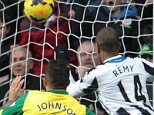 First up: Newcastle United striker Loic Remy heads in the opening goal against Norwich