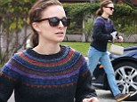 Natalie Portman steps out in festive patterned jumper and pale jeans as she goes food shopping